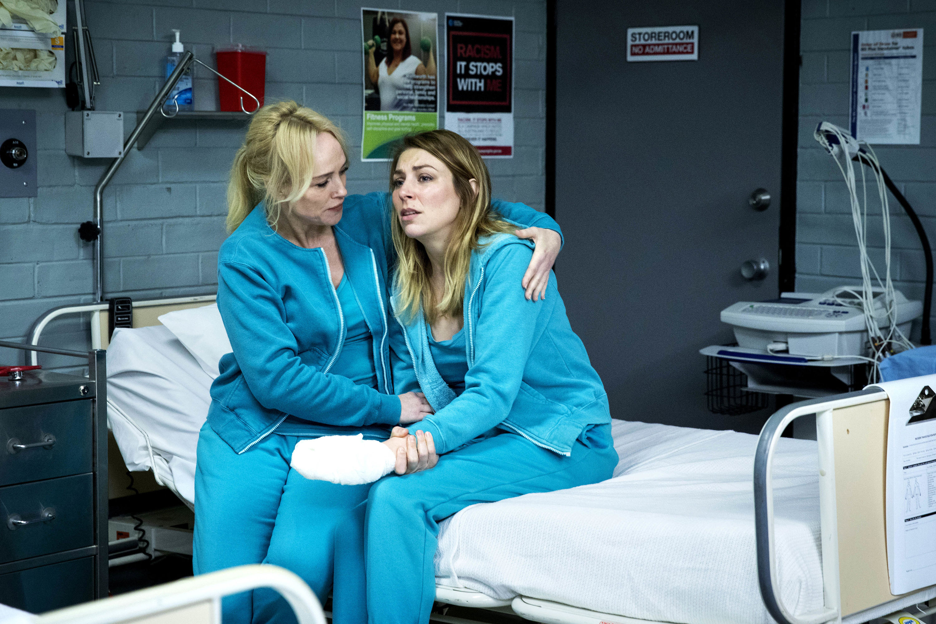 Marie comforts an injuried Allie after Kaz makes an example of her