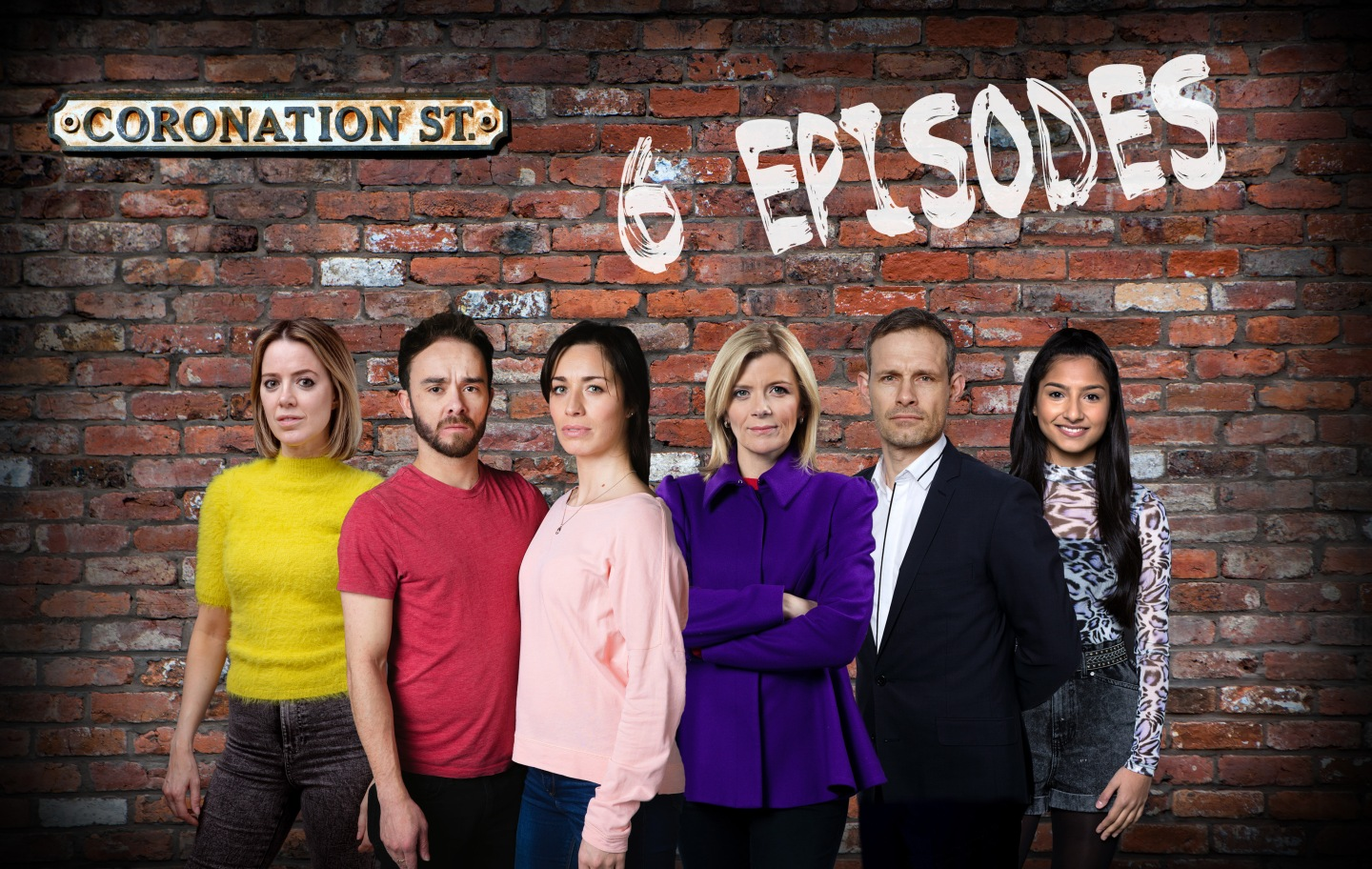 Abi, David, Shona, Leanne, Nick and Asha in Corrie